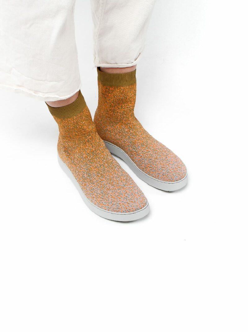 3D knitted sockboot Sparkle papaya schräg K