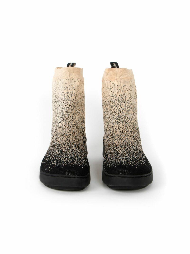 3D knitted sockboot Sparkle starry vorne
