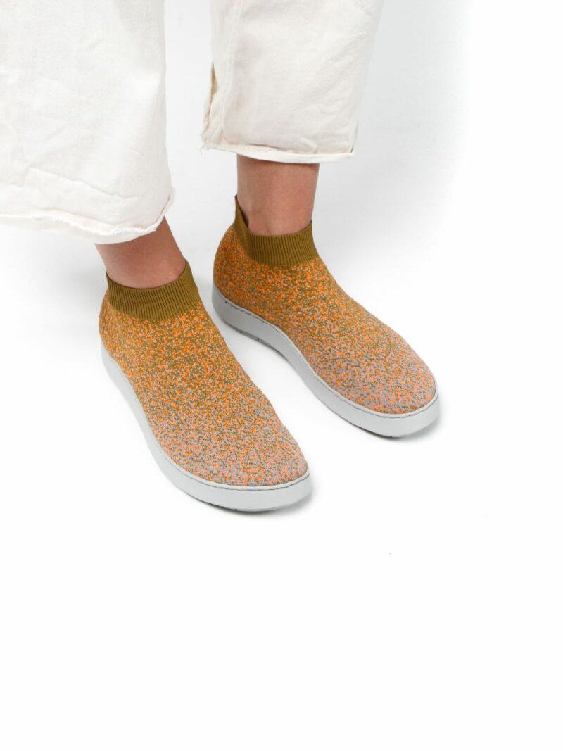 3D knitted sockboot Spexx papaya schräg K