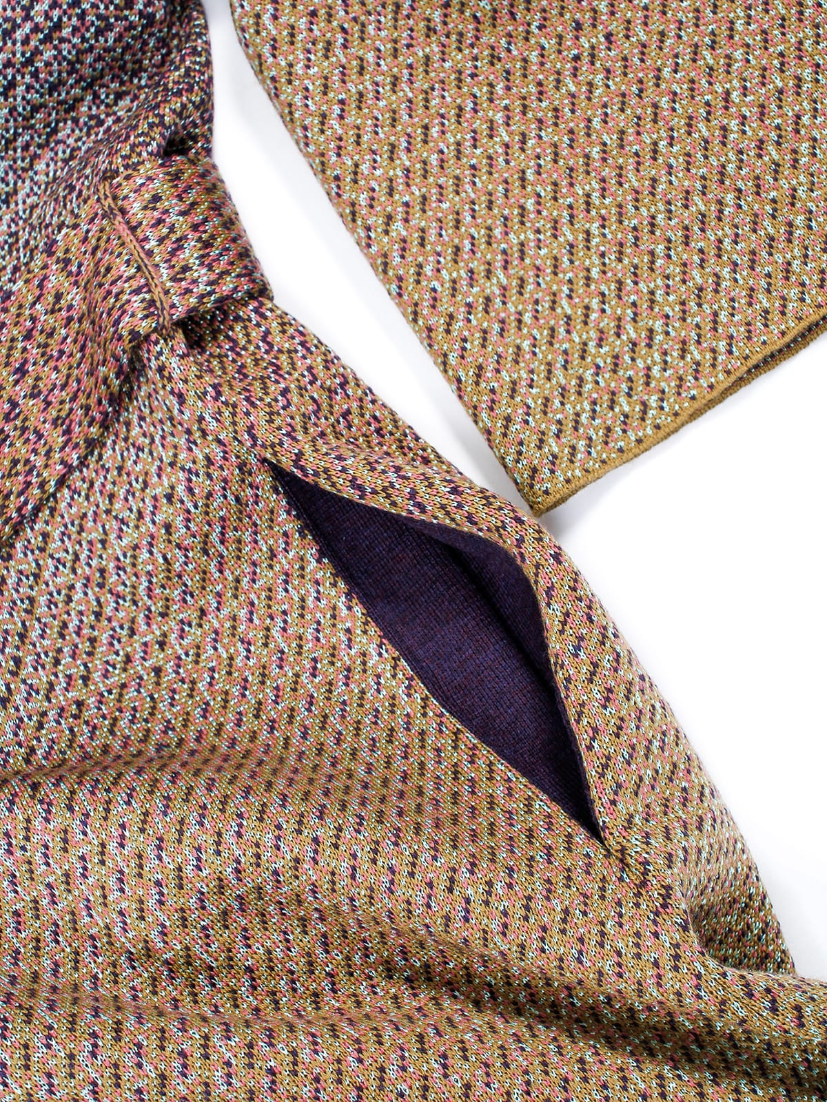 knitted Jacquard Coat_Halfmoon Caye pocket detail