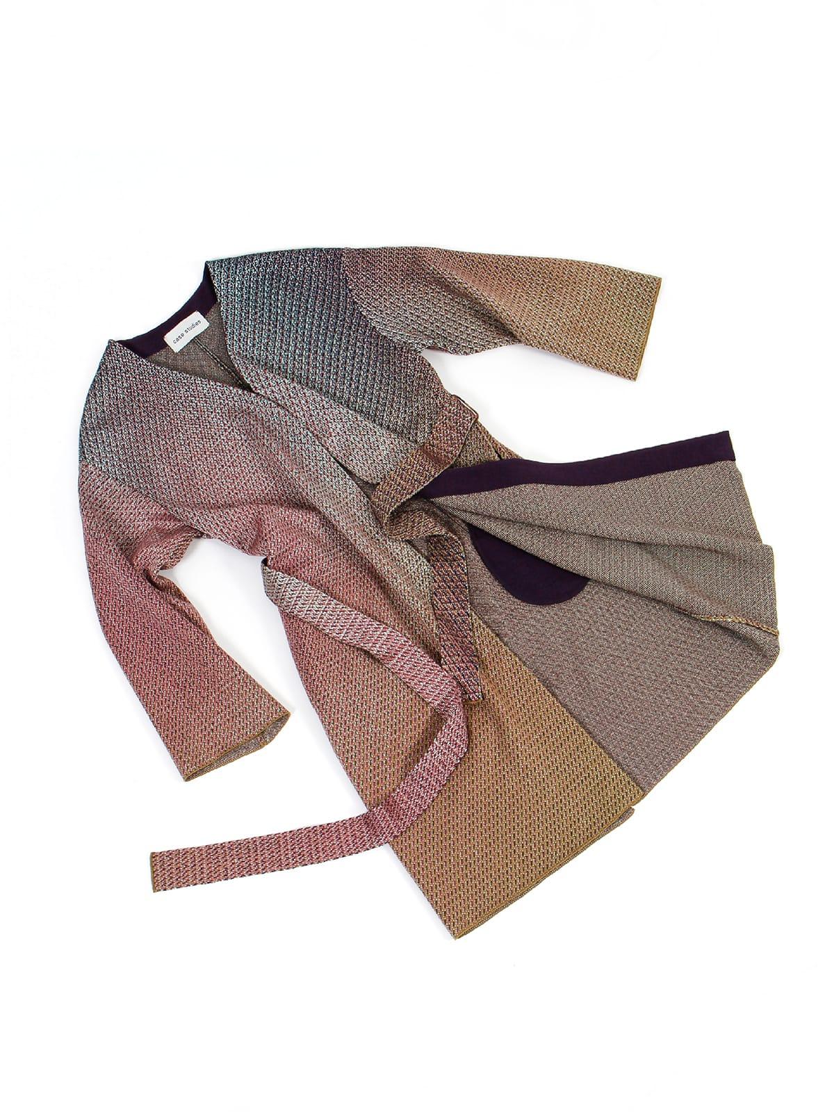 knitted Jacquard Coat_Halfmoon Caye draped